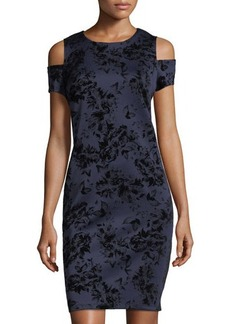 Neiman Marcus Cold-Shoulder Velvet Burnout Dress