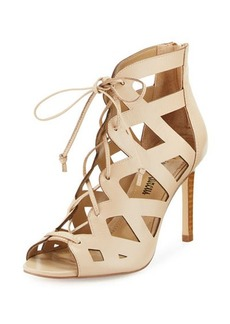 Neiman Marcus Collee Laser-Cut Lace-Up Sandal