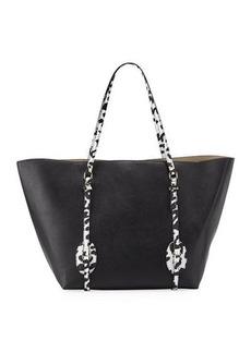 Neiman Marcus Colorblock Exotic-Handle Satchel Bag