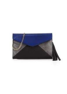 Neiman Marcus Colorblock Faux-Leather Envelope Clutch Bag
