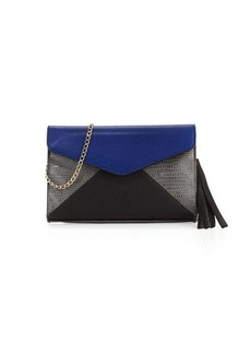 Neiman Marcus Colorblock Faux-Leather Envelope Clutch Bag