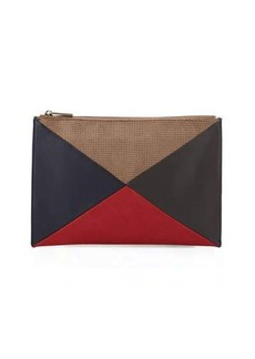 Neiman Marcus Colorblock Perforated Clutch Bag