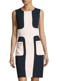 Neiman Marcus Colorblock Zip-Pocket Sheath Dress