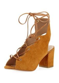 Neiman Marcus Connie Suede Lace-Up Sandal