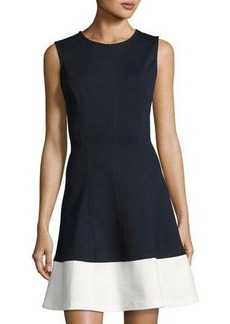 Neiman Marcus Contrast-Hem Fit-and-Flare Dress