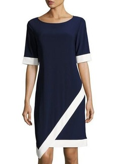 Neiman Marcus Contrast-Trim Jersey Dress