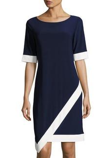 Neiman Marcus Contrast-Trim Jersey Dress