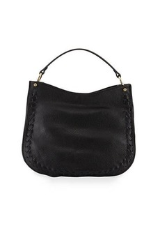 Neiman Marcus Convertible Leather Hobo Bag with Whipstitching