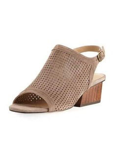 Neiman Marcus Corrie Perforated Suede Slingback Sandal