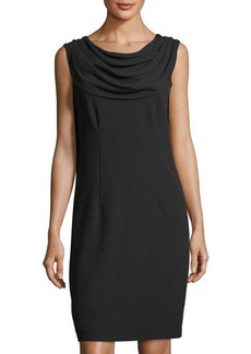 Neiman Marcus Cowl-Neck Draped-Back Sheath Dress