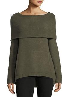 Neiman Marcus Cowl-Neck Kangaroo-Pocket Sweater