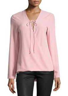Neiman Marcus Crepe Lace-Up Long-Sleeve Top