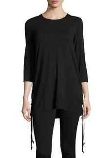 Neiman Marcus Crewneck Tunic with Lace-Up Sides