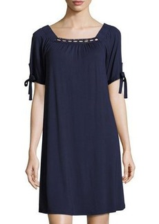 Neiman Marcus Crisscross-Stitch Square-Neckline Dress