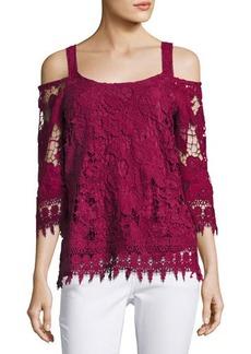 Neiman Marcus Crochet Cold-Shoulder Top