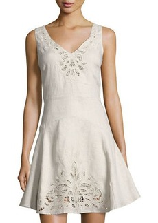 Neiman Marcus Crochet-Inset Linen Fit & Flare Dress