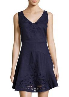 Neiman Marcus Crochet-Inset Linen Fit & Flare Dress