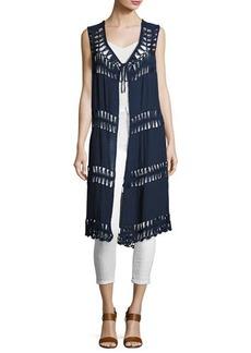 Neiman Marcus Crochet-Inset Long Vest
