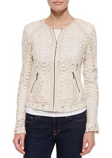 Neiman Marcus Crochet Jacket with Lambskin Trim