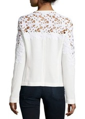 Neiman Marcus Crochet Lace-Inset Bomber Jacket