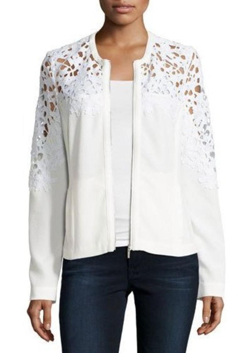 Neiman Marcus Crochet Lace-Inset Bomber Jacket