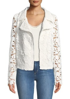 Neiman Marcus Crochet-Lace Moto Jacket