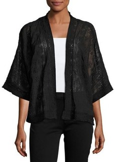 Neiman Marcus Crochet-Trim Eyelet Kimono Jacket