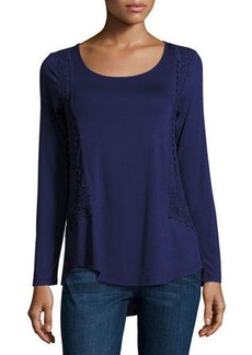 Neiman Marcus Crochet-Trim Long-Sleeve Top