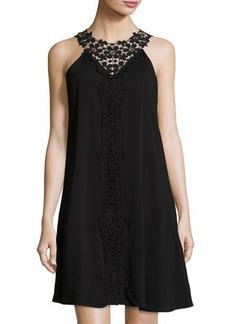 Neiman Marcus Crochet-Yoke Woven Dress