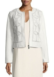 Neiman Marcus Crocheted Cropped Leather Jacket