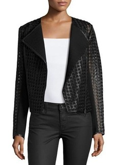 Neiman Marcus Cropped Cutout Leather Moto Jacket