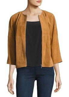 Neiman Marcus Cropped Suede Bomber Jacket