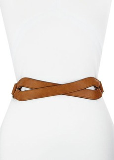 Neiman Marcus Crossed-Front Faux-Leather Belt