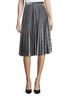 Neiman Marcus Crushed Velvet Pleated Midi Skirt