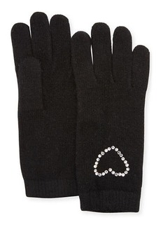 Neiman Marcus Crystal Heart Cashmere Gloves