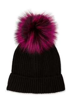 Neiman Marcus Cashmere Fur-Pompom Hat