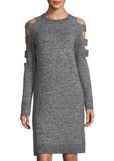 Neiman Marcus Cutout-Sleeve Sweaterdress