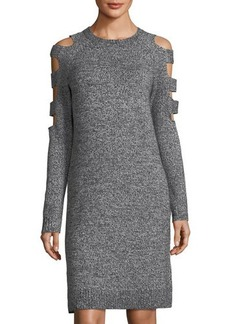 Neiman Marcus Cutout-Sleeve Sweaterdress