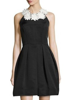 Neiman Marcus Daisy-Collar Sleeveless Fit & Flare Dress