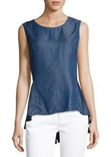 Neiman Marcus Denim Peplum Top