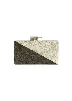 Neiman Marcus Diagonal Two-Tone Glitter Clutch Bag
