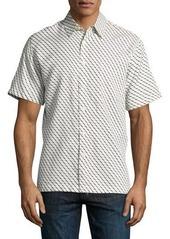 Neiman Marcus Diamond-Print Short-Sleeve Sport Shirt