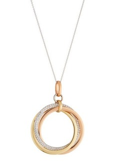 Neiman Marcus Diamonds 14k Tricolor Diamond Eternity Circle Pendant Necklace