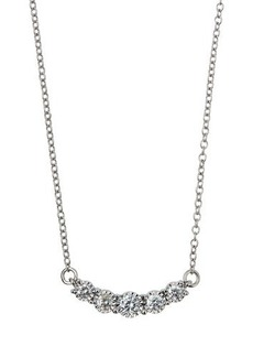 Neiman Marcus Diamonds 14k White Gold Diamond Curved Bar Necklace