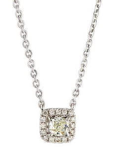 Neiman Marcus Diamonds 14k White Gold Diamond Cushion Solitaire Pendant Necklace