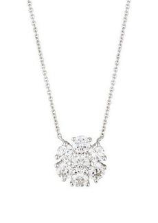 Neiman Marcus Diamonds 14k White Gold Diamond Flower Pendant Necklace