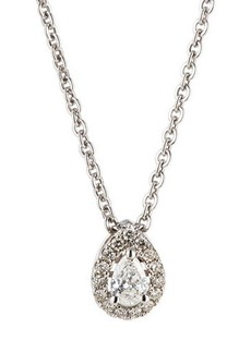 Neiman Marcus Diamonds 14k White Gold Diamond Pear Solitaire Pendant Necklace