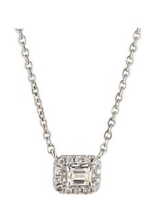 Neiman Marcus Diamonds 14k White Gold Diamond Rectangular Solitaire Pendant Necklace