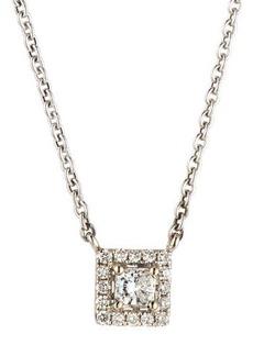 Neiman Marcus Diamonds 14k White Gold Diamond Square Solitaire Pendant Necklace