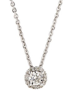 Neiman Marcus Diamonds 14k White Gold Round Diamond Solitaire Pendant Necklace
